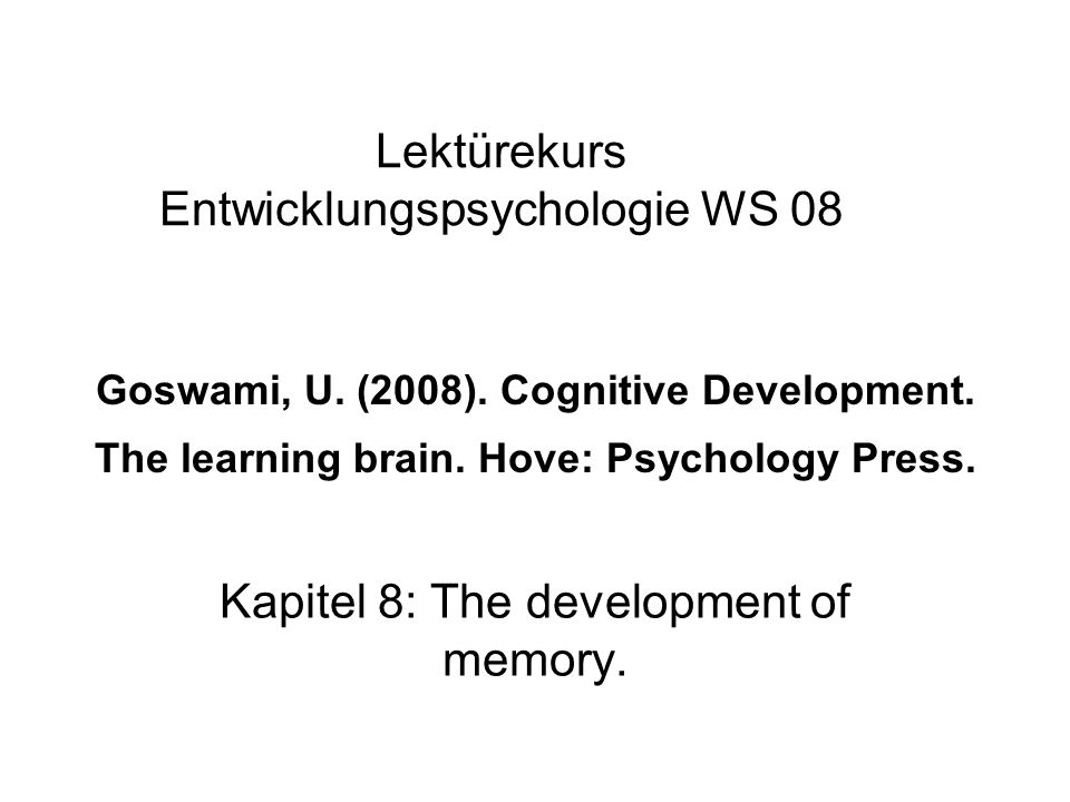 Kapitel 8: The development of memory.
