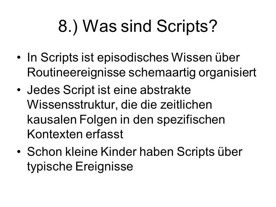 8.) Was sind Scripts In Scripts ist episodisches Wissen über Routineereignisse schemaartig organisiert.