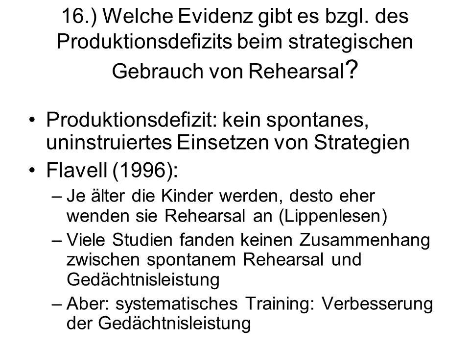 16. ) Welche Evidenz gibt es bzgl