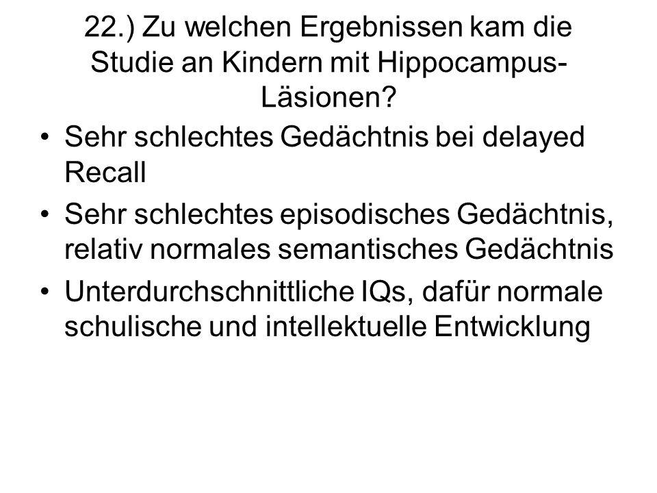 22.) Zu welchen Ergebnissen kam die Studie an Kindern mit Hippocampus-Läsionen