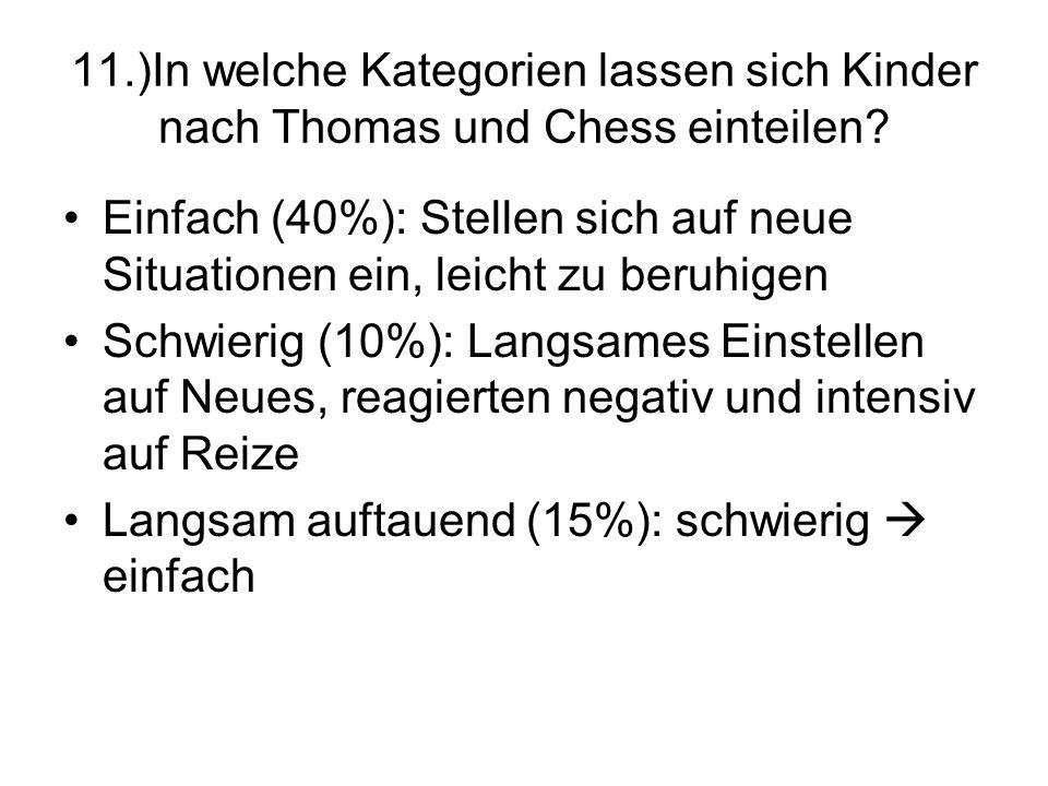 11.)In welche Kategorien lassen sich Kinder nach Thomas und Chess einteilen