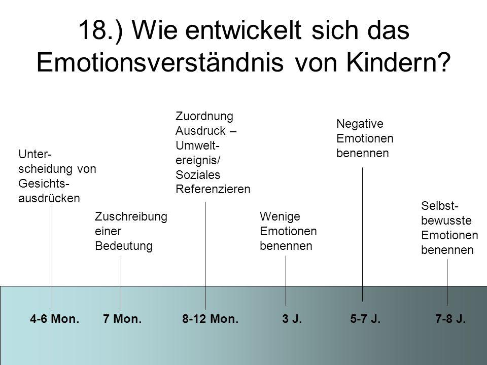 18.) Wie entwickelt sich das Emotionsverständnis von Kindern