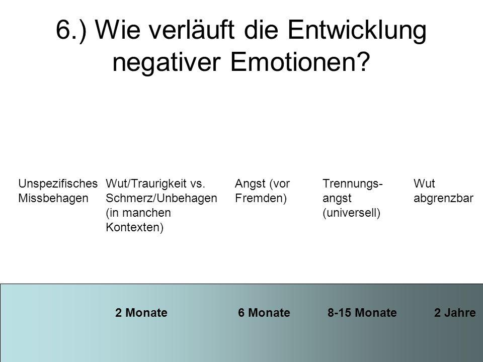 6.) Wie verläuft die Entwicklung negativer Emotionen
