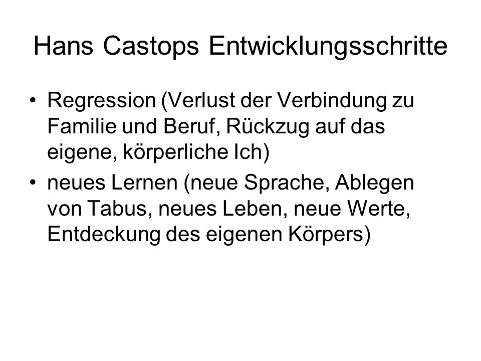 Hans Castops Entwicklungsschritte