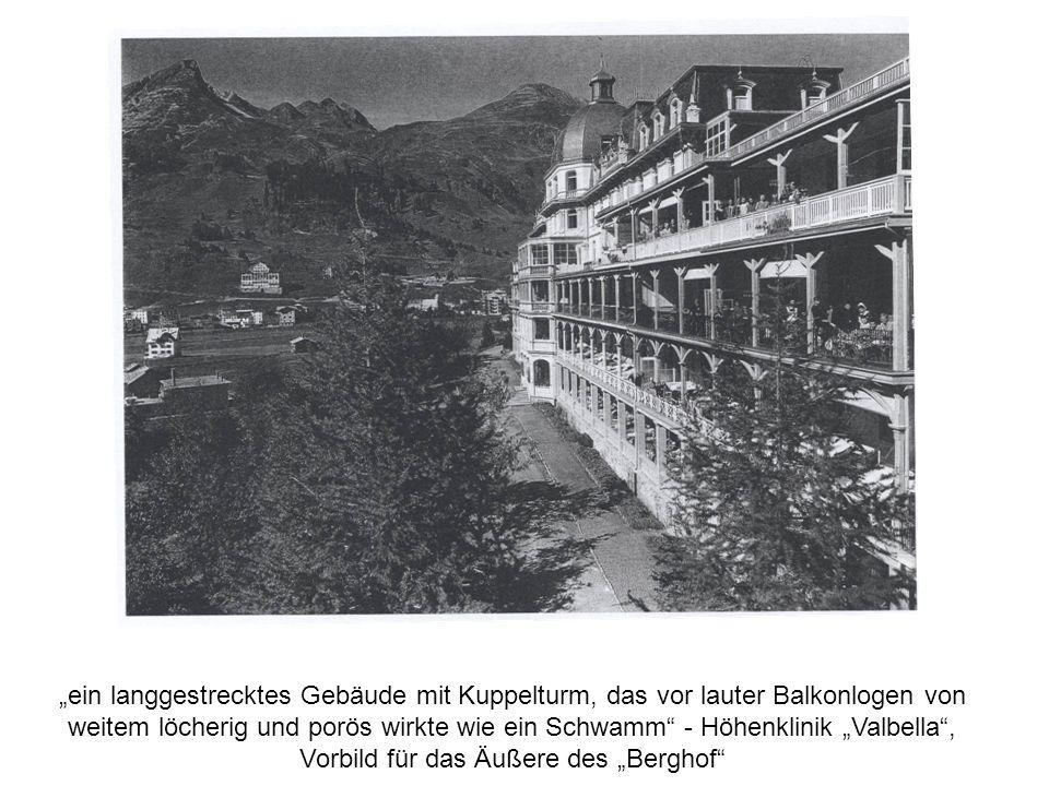 """""""ein langgestrecktes Gebäude mit Kuppelturm, das vor lauter Balkonlogen von weitem löcherig und porös wirkte wie ein Schwamm - Höhenklinik """"Valbella , Vorbild für das Äußere des """"Berghof"""