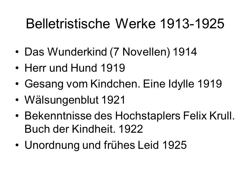 Belletristische Werke 1913-1925