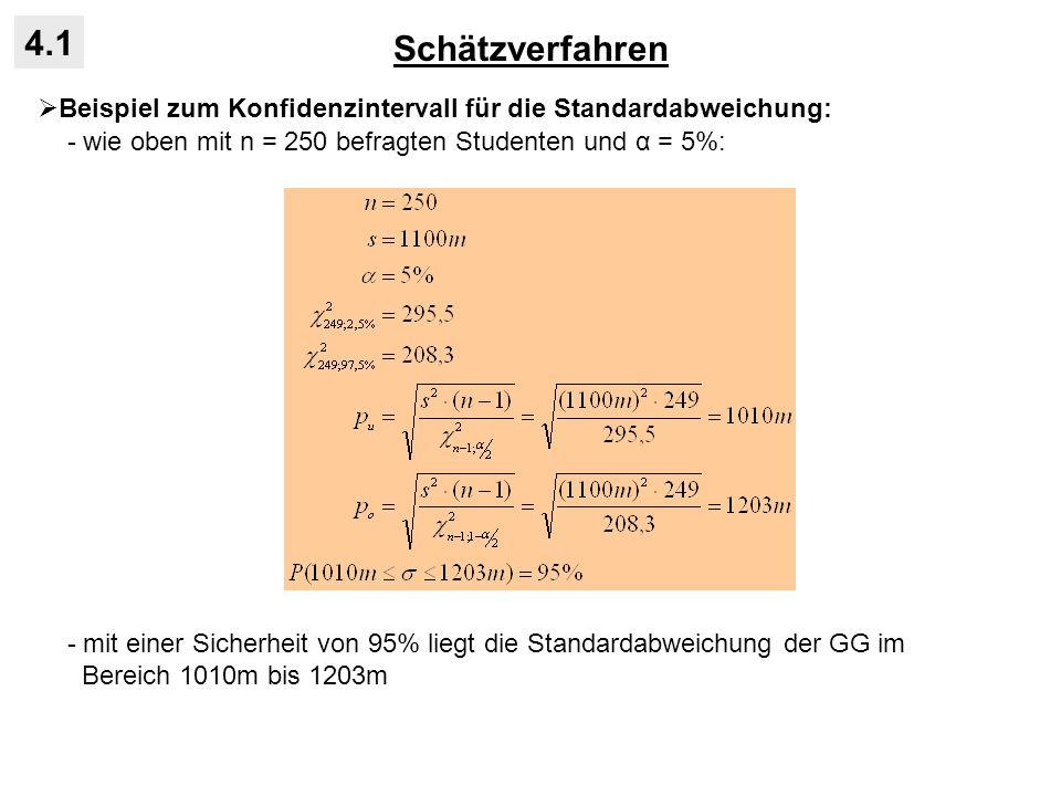 Schätzverfahren 4.1. Beispiel zum Konfidenzintervall für die Standardabweichung: - wie oben mit n = 250 befragten Studenten und α = 5%: