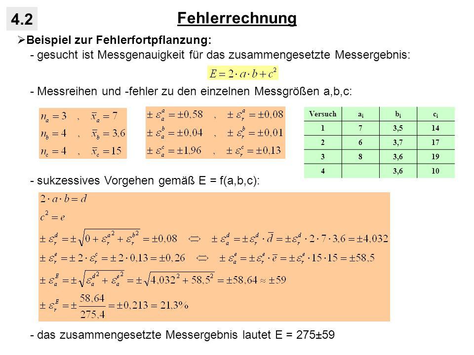 Fehlerrechnung 4.2 Beispiel zur Fehlerfortpflanzung: