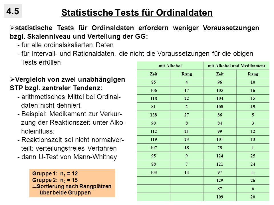 Statistische Tests für Ordinaldaten