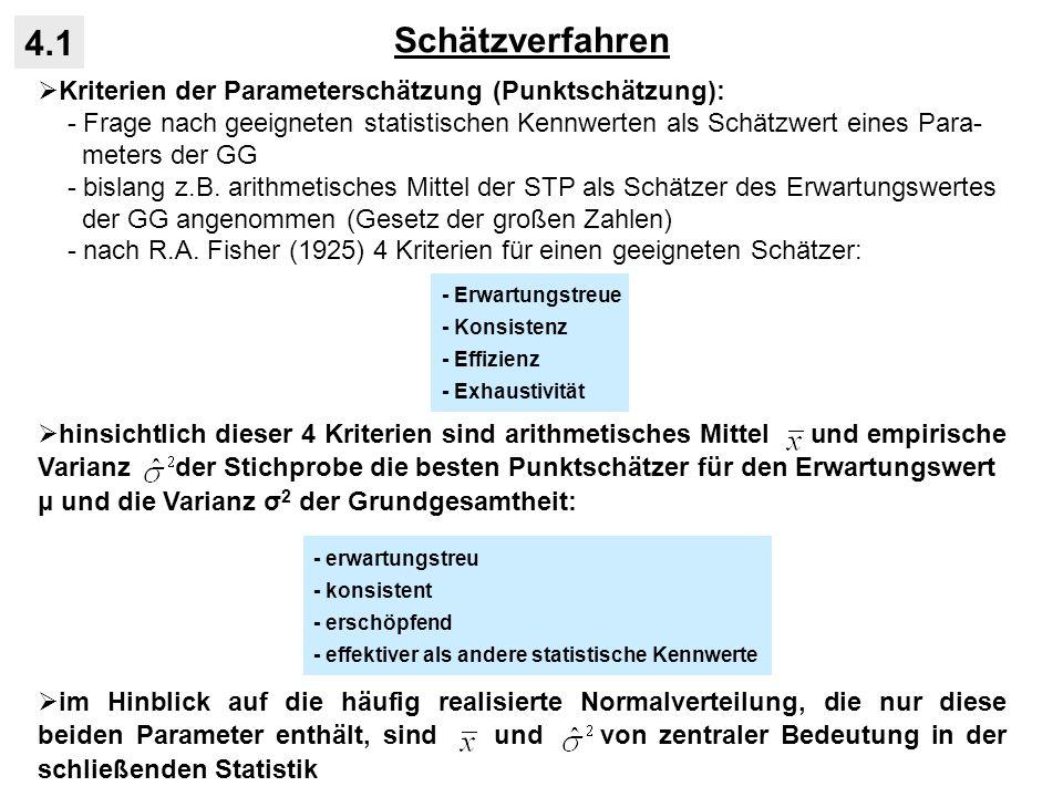 Schätzverfahren 4.1 Kriterien der Parameterschätzung (Punktschätzung):