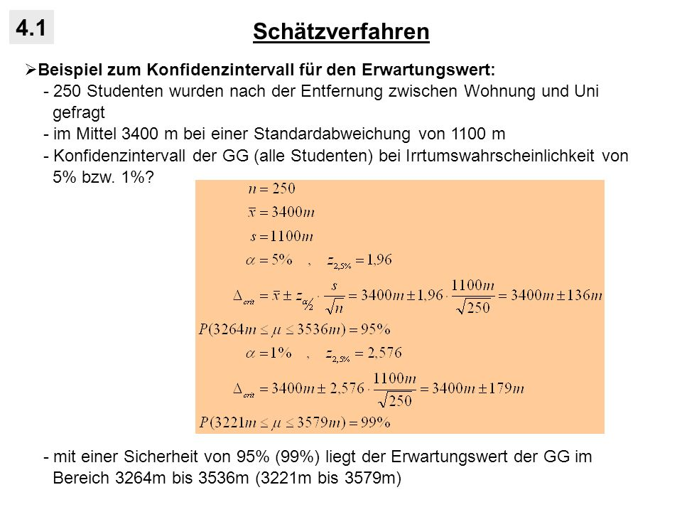Schätzverfahren 4.1. Beispiel zum Konfidenzintervall für den Erwartungswert: - 250 Studenten wurden nach der Entfernung zwischen Wohnung und Uni.