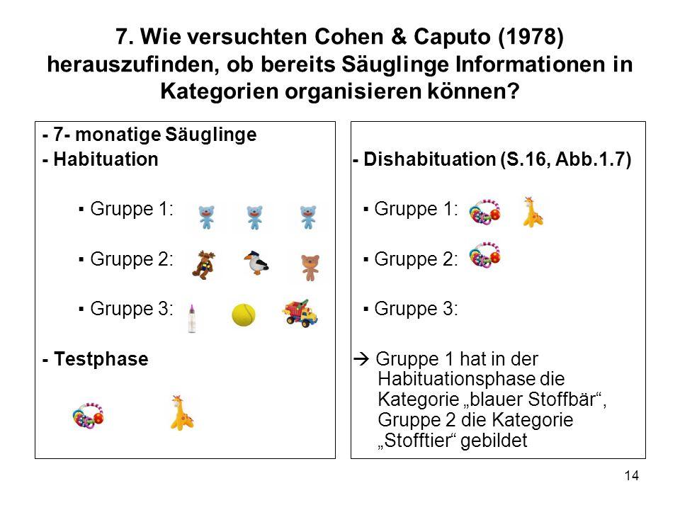 7. Wie versuchten Cohen & Caputo (1978) herauszufinden, ob bereits Säuglinge Informationen in Kategorien organisieren können