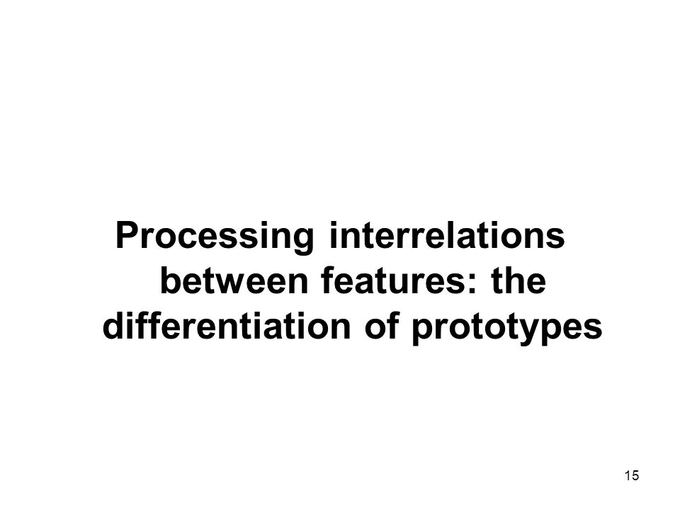 Processing interrelations between features: the differentiation of prototypes