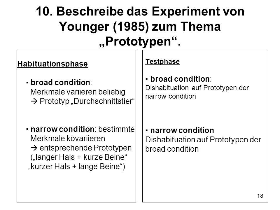 """10. Beschreibe das Experiment von Younger (1985) zum Thema """"Prototypen ."""