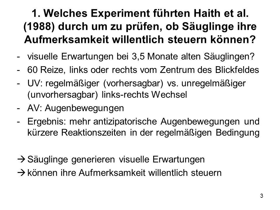 1. Welches Experiment führten Haith et al