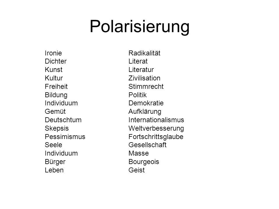 Polarisierung Ironie Radikalität Dichter Literat Kunst Literatur