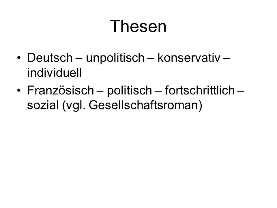 Thesen Deutsch – unpolitisch – konservativ – individuell