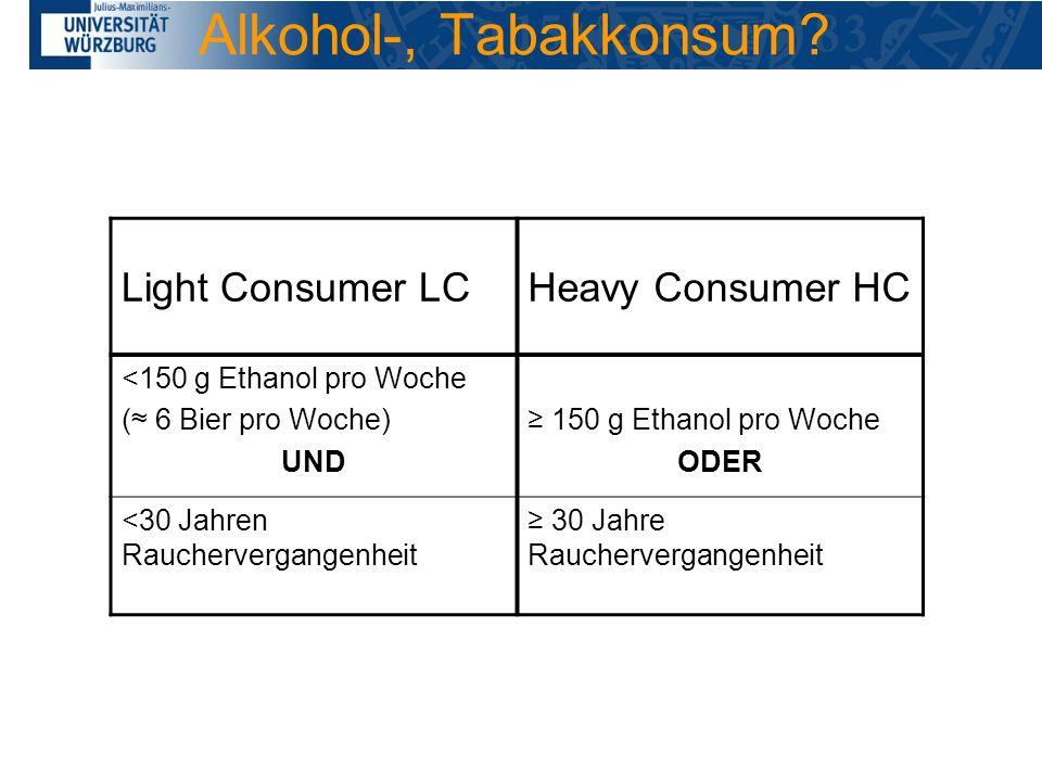 Alkohol-, Tabakkonsum Light Consumer LC Heavy Consumer HC