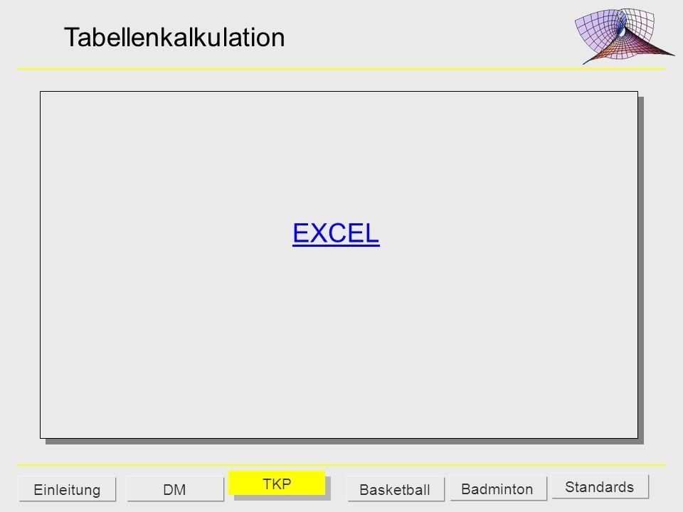 Tabellenkalkulation EXCEL TKP Einleitung DM Basketball Badminton