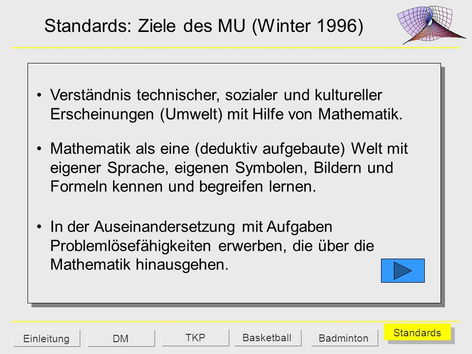 Standards: Ziele des MU (Winter 1996)