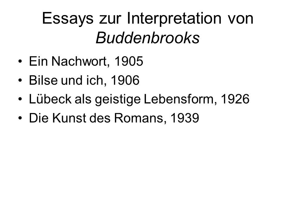 Essays zur Interpretation von Buddenbrooks