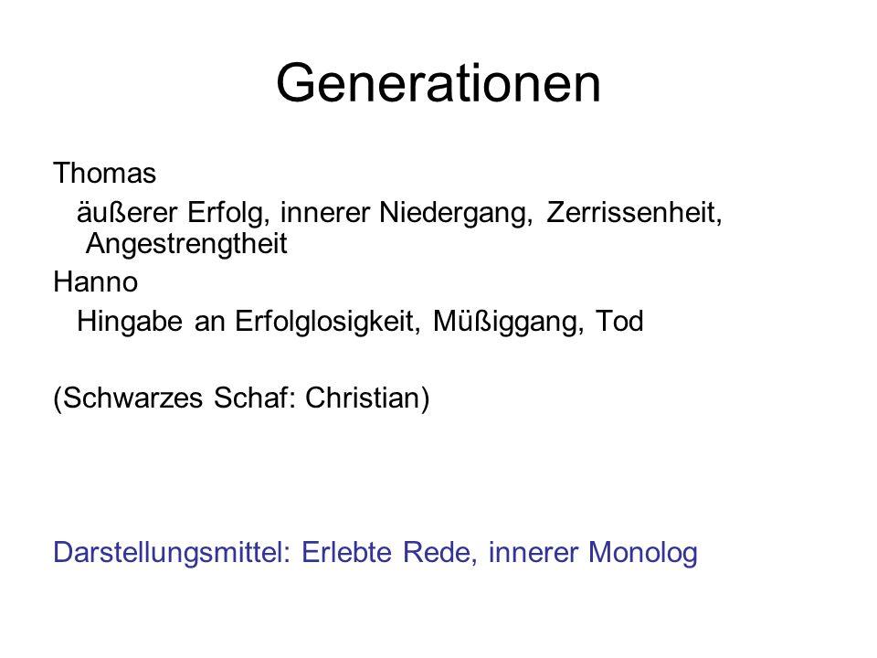 Generationen Thomas. äußerer Erfolg, innerer Niedergang, Zerrissenheit, Angestrengtheit. Hanno. Hingabe an Erfolglosigkeit, Müßiggang, Tod.