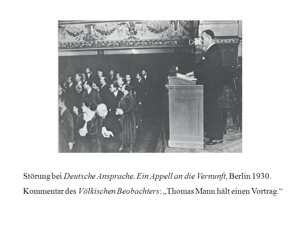 Störung bei Deutsche Ansprache. Ein Appell an die Vernunft, Berlin 1930.