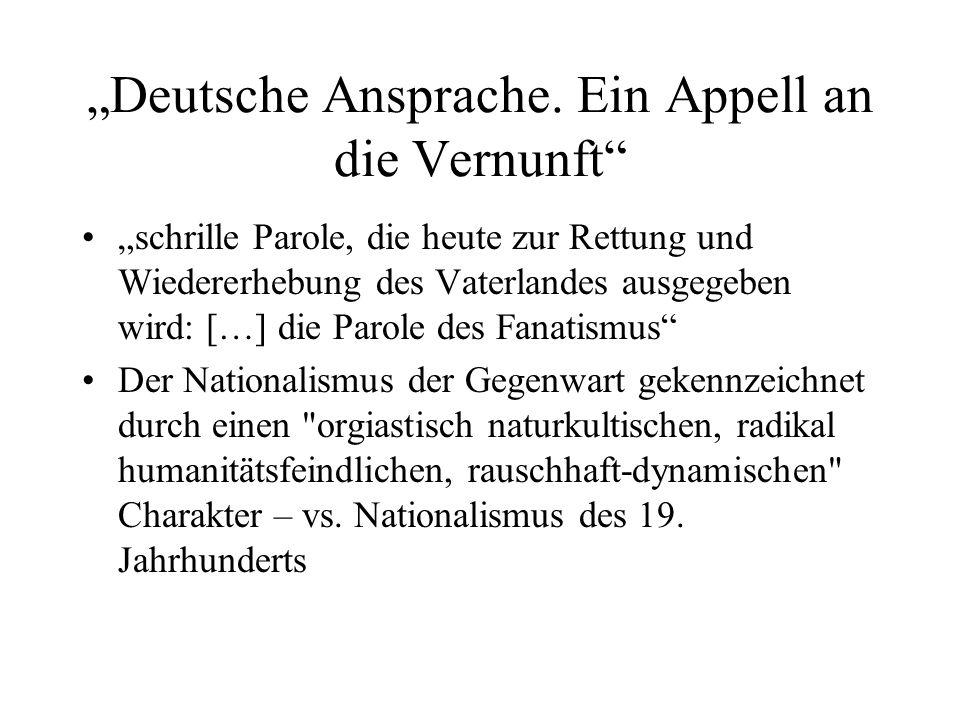 """""""Deutsche Ansprache. Ein Appell an die Vernunft"""