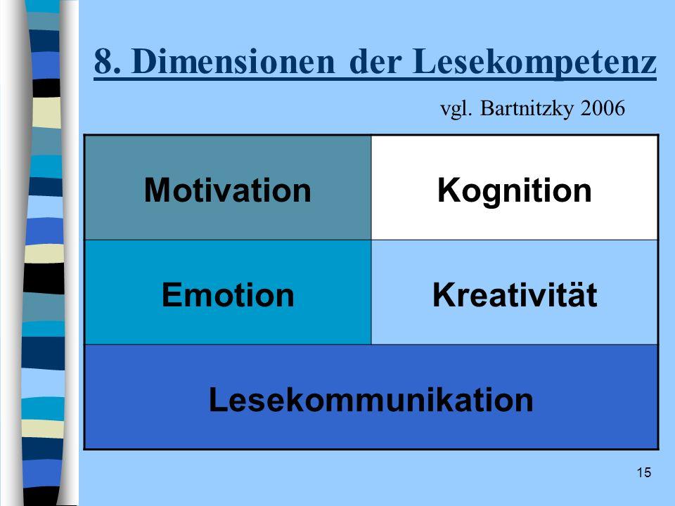 8. Dimensionen der Lesekompetenz
