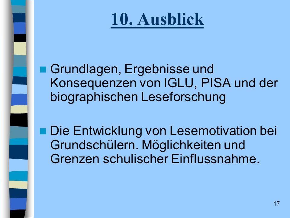 10. Ausblick Grundlagen, Ergebnisse und Konsequenzen von IGLU, PISA und der biographischen Leseforschung.