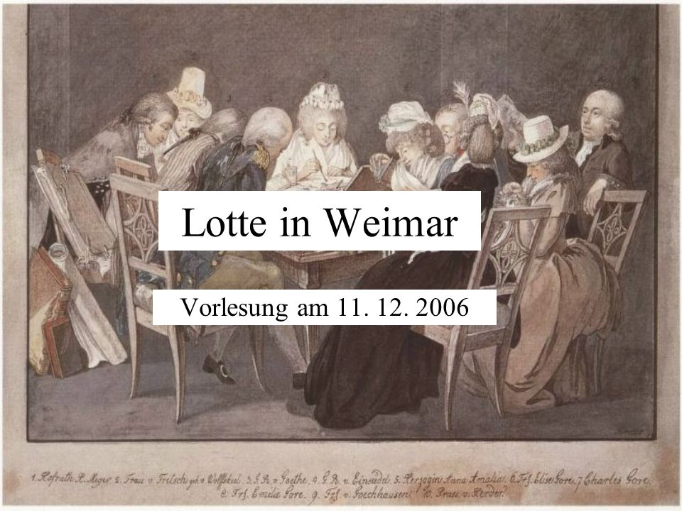 Lotte in Weimar Vorlesung am