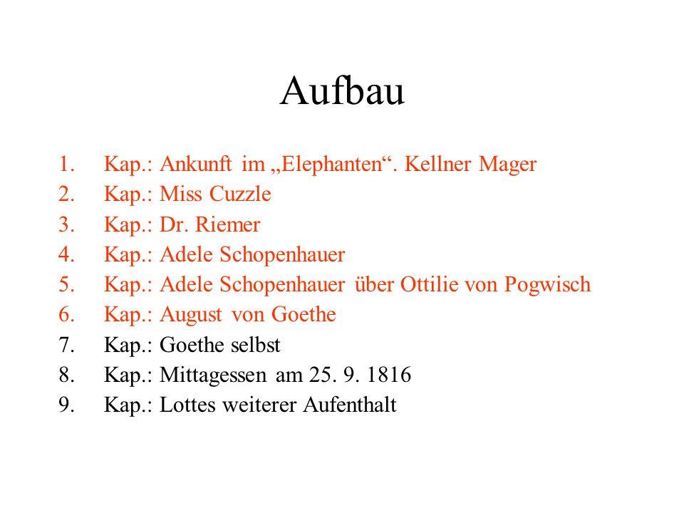 """Aufbau Kap.: Ankunft im """"Elephanten . Kellner Mager Kap.: Miss Cuzzle"""