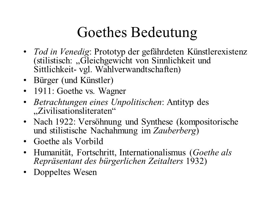 Goethes Bedeutung