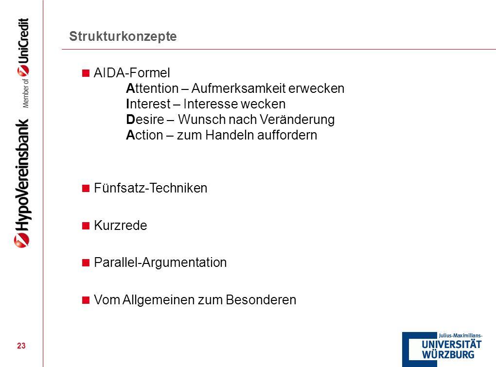 Strukturkonzepte AIDA-Formel. Attention – Aufmerksamkeit erwecken. Interest – Interesse wecken. Desire – Wunsch nach Veränderung.