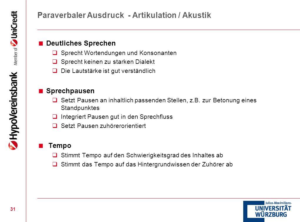 Paraverbaler Ausdruck - Artikulation / Akustik