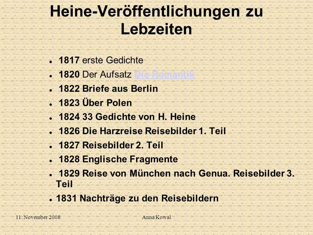 Heine-Veröffentlichungen zu Lebzeiten