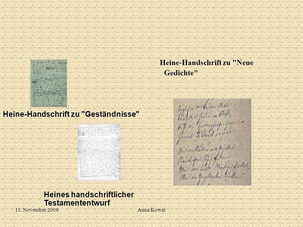 Heine-Handschrift zu Neue Gedichte
