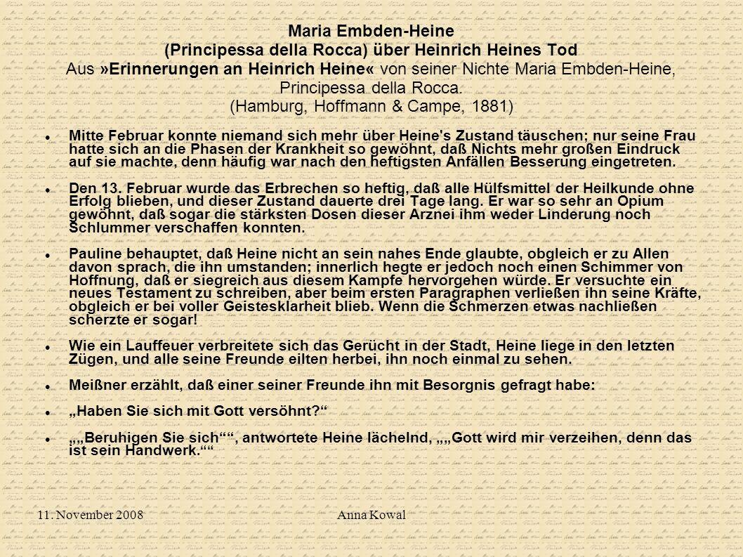 Maria Embden-Heine (Principessa della Rocca) über Heinrich Heines Tod Aus »Erinnerungen an Heinrich Heine« von seiner Nichte Maria Embden-Heine, Principessa della Rocca. (Hamburg, Hoffmann & Campe, 1881)