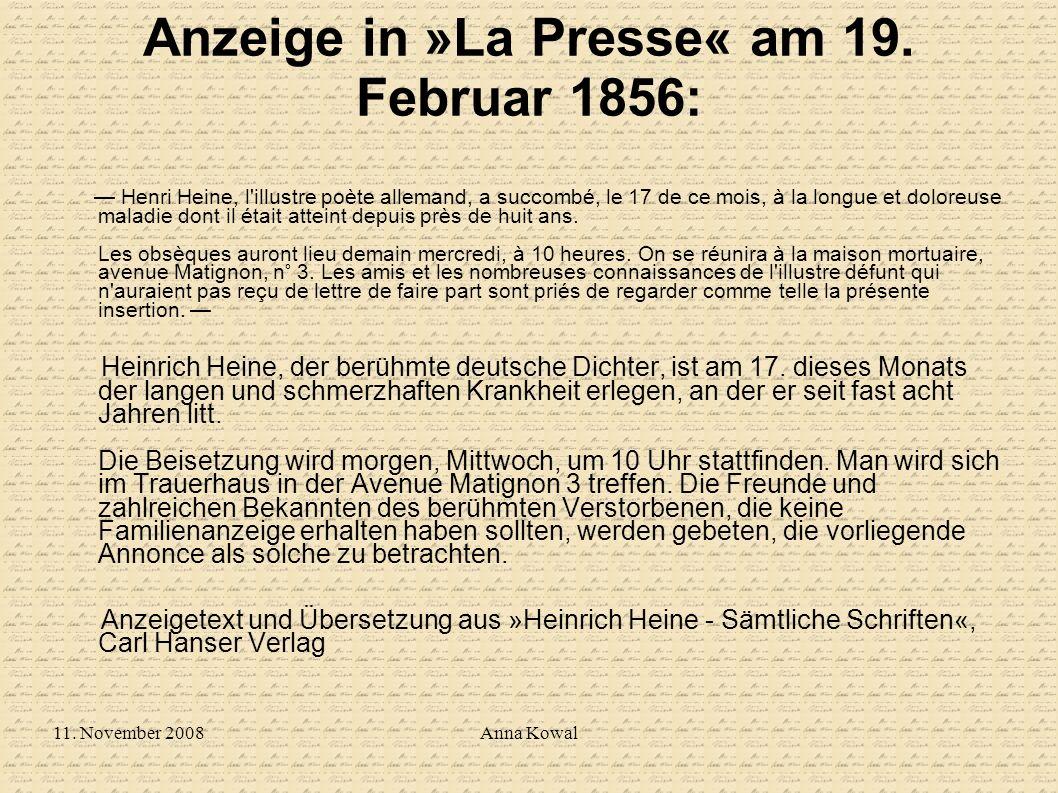 Anzeige in »La Presse« am 19. Februar 1856: