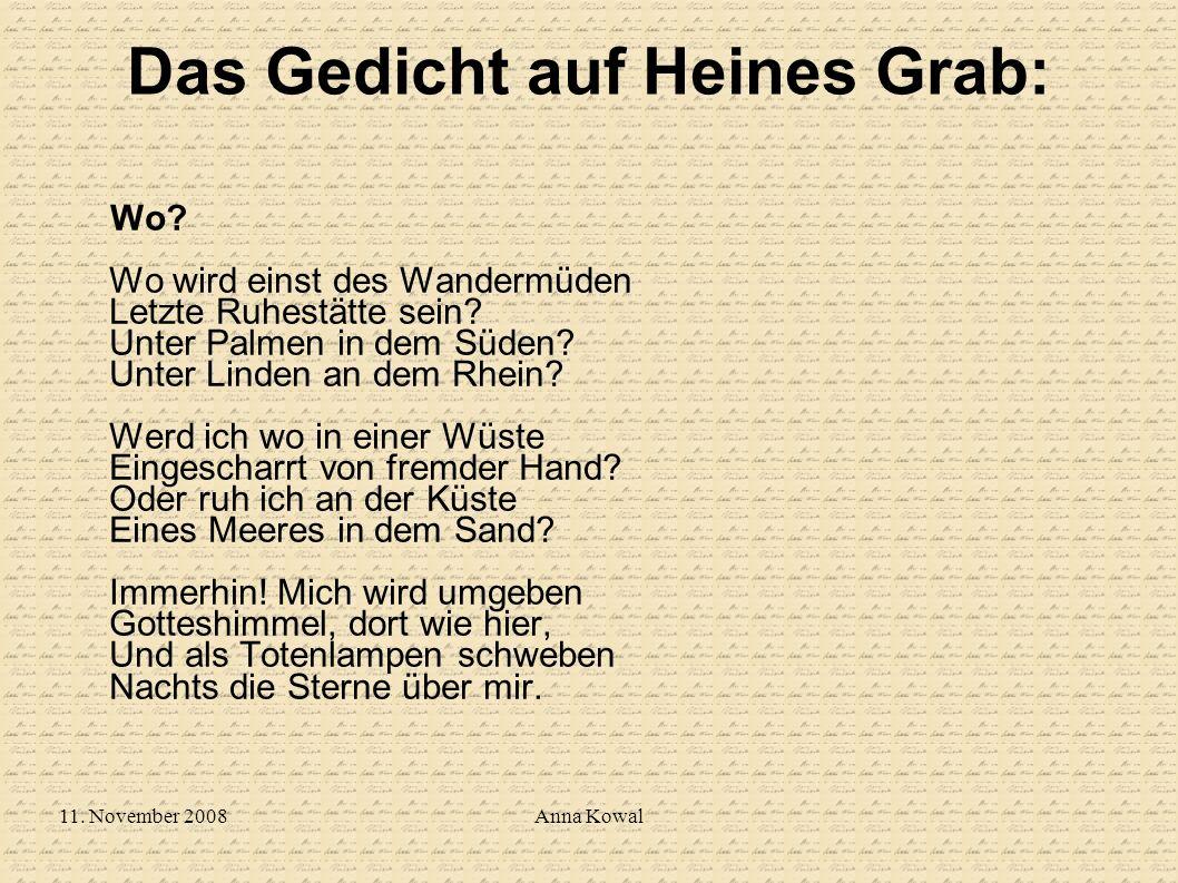 Das Gedicht auf Heines Grab: