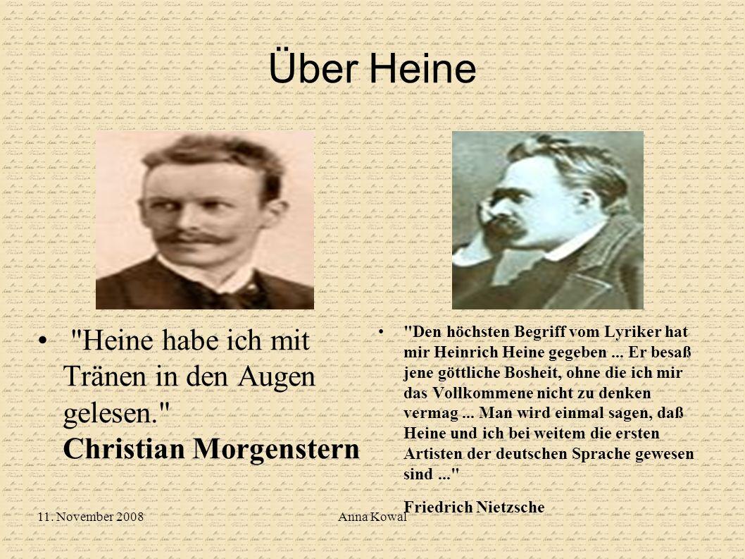 Über Heine Heine habe ich mit Tränen in den Augen gelesen. Christian Morgenstern.