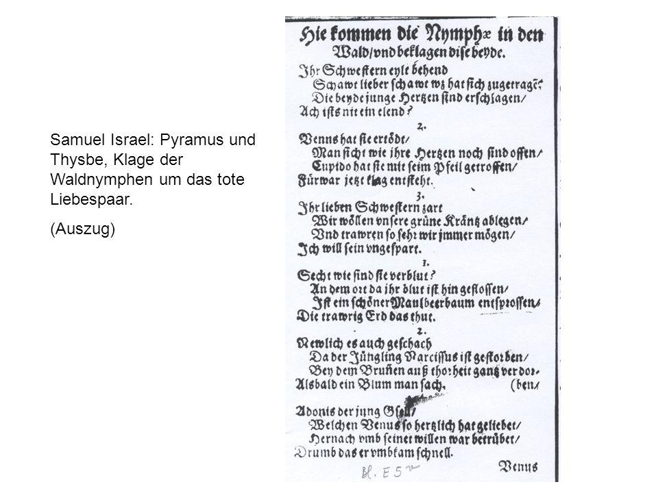 Samuel Israel: Pyramus und Thysbe, Klage der Waldnymphen um das tote Liebespaar.