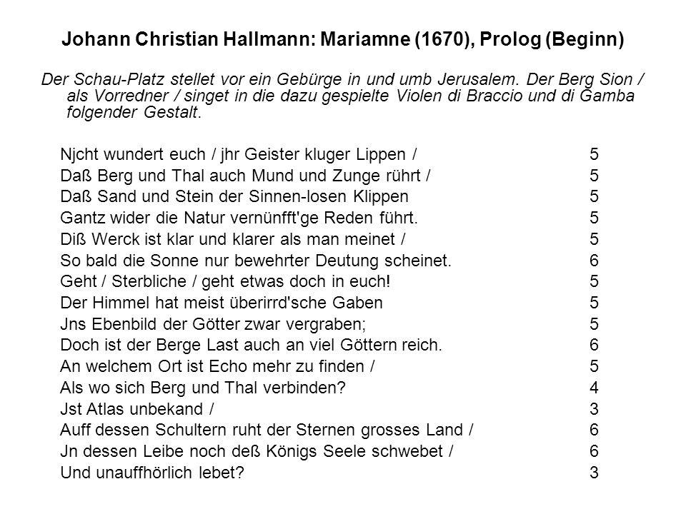 Johann Christian Hallmann: Mariamne (1670), Prolog (Beginn)