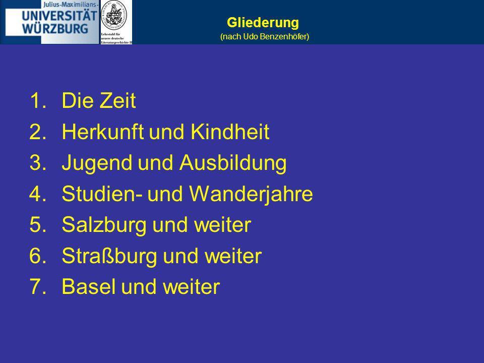 Studien- und Wanderjahre Salzburg und weiter Straßburg und weiter