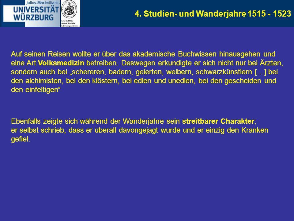 4. Studien- und Wanderjahre 1515 - 1523