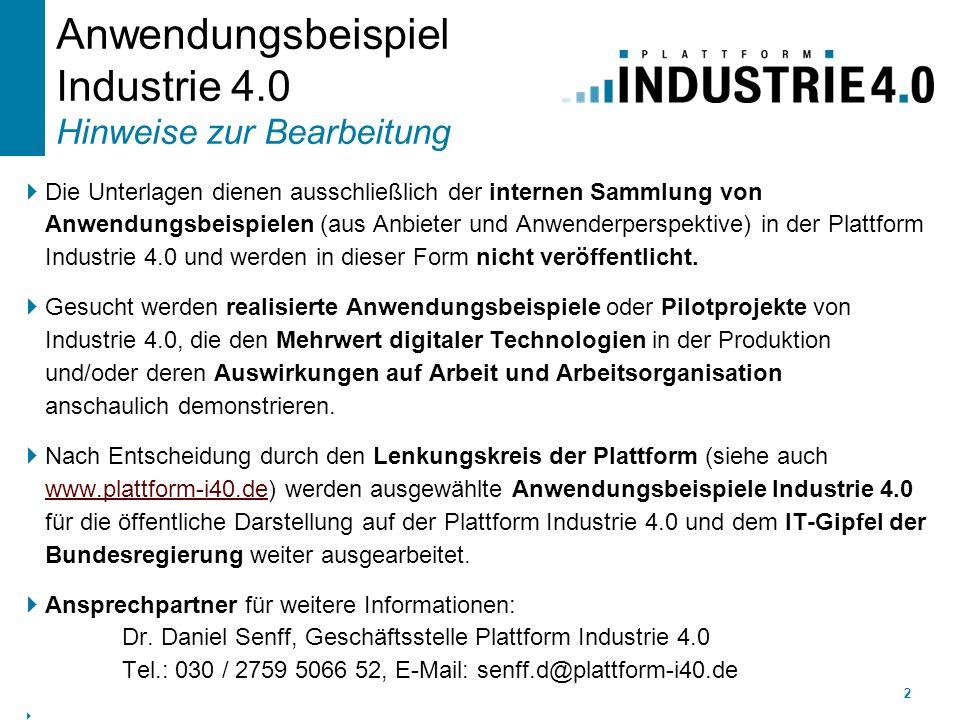 Anwendungsbeispiel Industrie 4.0 Hinweise zur Bearbeitung