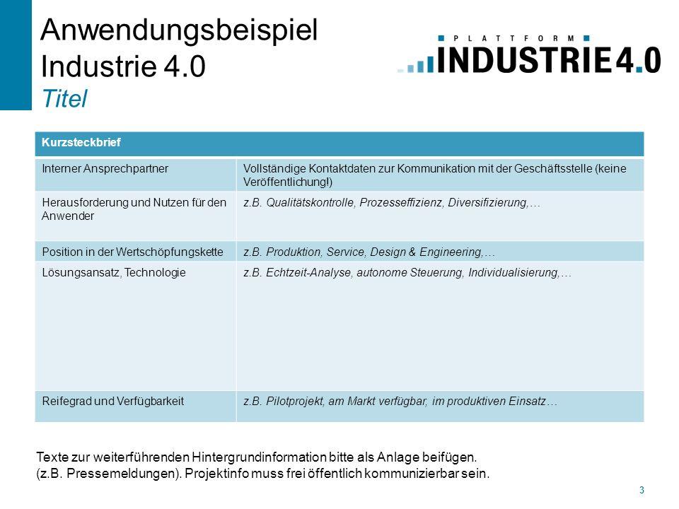 Anwendungsbeispiel Industrie 4.0 Titel