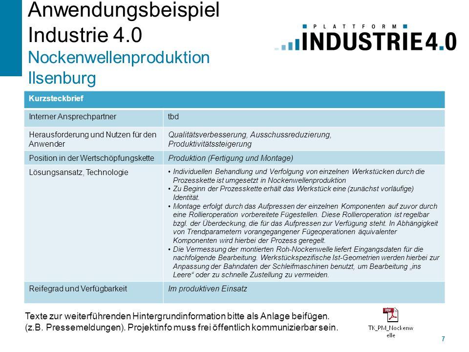 Anwendungsbeispiel Industrie 4.0 Nockenwellenproduktion Ilsenburg