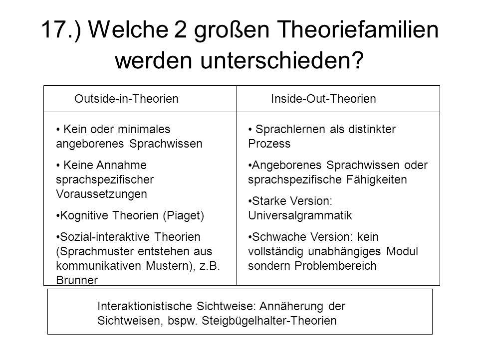 17.) Welche 2 großen Theoriefamilien werden unterschieden