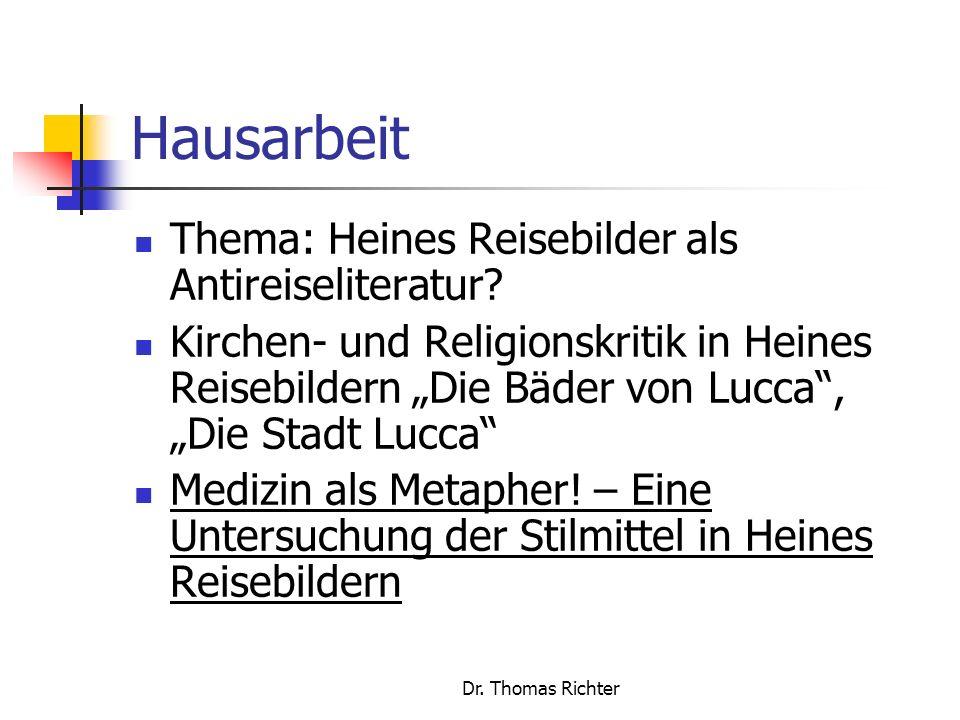 Hausarbeit Thema: Heines Reisebilder als Antireiseliteratur
